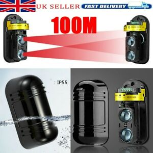 1Pair 100m Dual Beam IR Infrared Detector Module Burglar Alarm for Home Security
