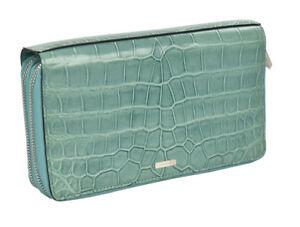 NEW KITON  BAG wallet  100% LEATHER CROCODILE  color light green