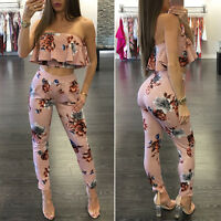 Women 2 Piece Outfits Off Shoulder Floral Crop Top Pants Set Casual Jumpsuit