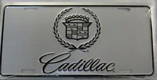 CADILLAC METAL LICENSE PLATE SIGN CHROME SILVER MIRRORED GM NEW L828
