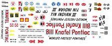 TIN INDIAN III Bill Knafel Pontiac NHRA 1/43rd Scale Slot Car Waterslide Decals