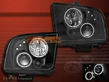 2005-2009 FORD MUSTANG DUAL HALO RIM PROJECTOR HEADLIGHTS BB CCFL BLACK