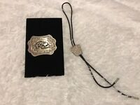Western Horse Belt Buckle Silver Tone and Bolo Tie Lot