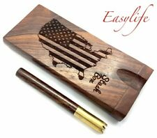 Rosewood Dugout Stash Box with Brass and Rosewood Horned One Hitter Pipe