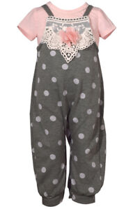 Bonnie Jean Cute Gray and Pink One Piece Coverall, Infant 12M, 18M, 24M