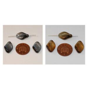 Czech Glass Twisted Diamond Shaped Oblong Beads Size 18.5mm x 12mm (20pcs)