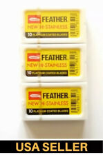 30 FEATHER Hi-Stainless Platinum Double Edge Safety Razor Blades 3 Packs of 10