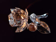 Swarovski Clear-Colored Crystal Rose with Dew Drops on a Stem Figurine - Retired