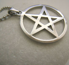5pcs Lot Stainless Steel Wicca Star Pentagram Pendant Necklace in bulk Silver