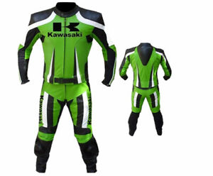 GREEN MOTORBIKE MOTORCYCLE MOTOGP RACING COWHIDE LEATHER 1 & 2 PC SUIT