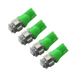 4x Green T10 LED Car Dash Interior Roof Dome Dash Door Trunk Light Wedge Globes