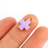 10Pcs Latin Cross Beads Charms Enamel Pendant For DIY Jewelry Making Findings