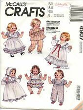 """McCall's Crafts Sewing Pattern 4907 12""""-22"""" Baby Doll Wardrobe Christening Gown"""