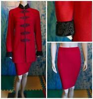 ST. JOHN Evening Knits Red Jacket Skirt L 10 12 2pc Suit Black Trim Metallic