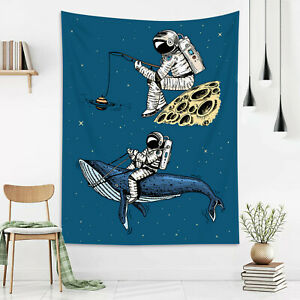 Funny Astronaut Whale Blue Star Space Tapestry Wall Hang Living Room Bedroom