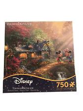Thomas Kinkade Disney Puzzle Mickey & Minnie Sweetheart Bridge 750 Ceaco New