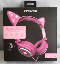 New Polaroid Pink Cat Ear Headphones Light Up Ears