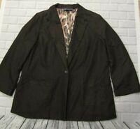 Womens Plus Size 1X Brown Susan Graver Style Blazer Suit Coat Jacket