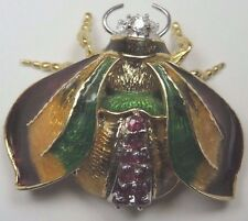 Retro Vintage Estate Diamond Ruby Bumble Bee Pin Brooch 18K Yellow Gold 23.5 Gms