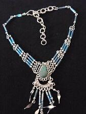 & Stone- Boho Look - Hook/Eye Clasp Nwot - Alpaca Silver Ankle Bracelet w/Beads