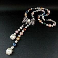 "22"" Multi Color Sea Shell Pearl Necklace CZ Pave Pendant"