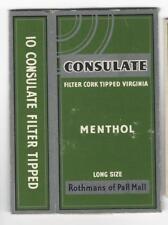 Vintage Cigarette Pack Label Wrapper - ROTHMANS CONSULATE MENTHOL