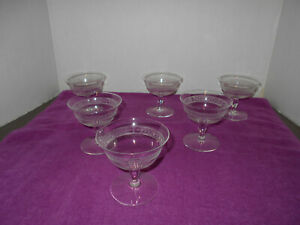 Antique/Vintage Set of 6 Clear Champagne Glasses w/Etched Chevrons