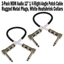 """2-Pack MDM Audio 12"""" 1/4 Right Angle Patch Cable Instrument Guitar Cord 1 ft NEW"""