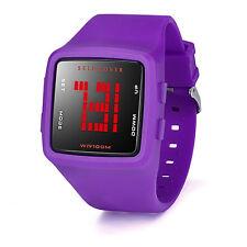 Women Men's LED Digital Sports Watch Waterproof Casual Silicone Strap Wristwatch Sky Blue