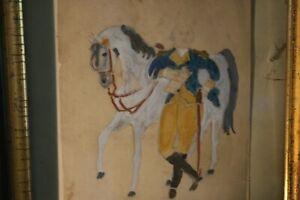 Antique General Washington Watercolor Portrait Painting Early Primitive Folk Art