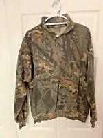 VINTAGE Mossy Oak Mens 1/2 Zip  Camo Sweatshirt Size xl Break Up Camouflage