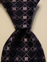 NORDSTROM Men's 100% Silk Necktie USA Designer Geometric Blue/Purple NWT