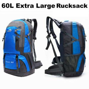 Extra Large Rucksack 60L Backpack Men Women Waterproof Bag Camping Hiking Blue