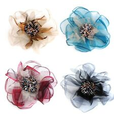 Groß Stoff Blume Mit Farbig Perlen Anstecknadel Brosche Peony für Hochzeit Hut