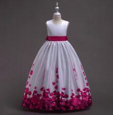 Girl Bow Knot Rose Satin Ball Gown Wedding Flower Girl Dresses Princess dress