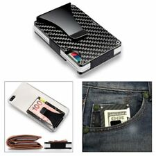 Slim Metal Carbon Fiber Credit Card Holder RFID Blocking Wallet Money Clip Purse