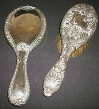 More details for antique  silver mirror & silver hair brush scrap ~ display