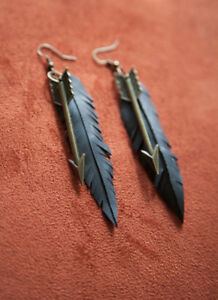 "Vegan Feather + Arrow Earrings - Bicycle Inner Tube - 4"" Long - Bronze"