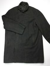 Mens DKNY Dark Grey Wool Coat Size L Large Winter Knee Length Button Front