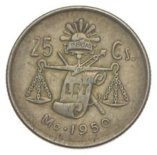 Silver Roughly Size of Nickel 1950 Mexico 25 Centavos World Silver Coin *787
