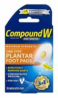 Compound W One Step Plantar Foot Pads Effectively Remove Warts 20 Each