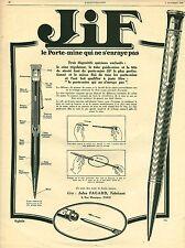 Publicité ancienne porte mine Jif 1926 Puybelle issue de magazine