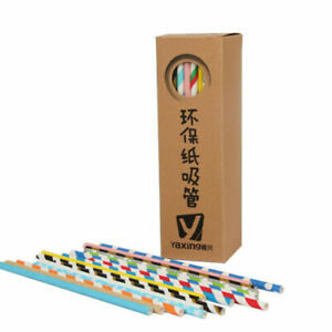 100 x Cocktail Party Multicoloured Rainbow Durable Paper Straws