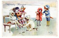POSTCARD THIELE CATS ICE SKATING T.S.N. SERIES 1876 NEW YEAR GREETING