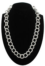 Twisted Double Ring Chain Link Necklace Silver Tone Metal Costume Jewelry