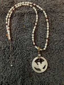 Sajen 925 Mother of Pearl Dove Pendant w/Beaded Necklace