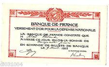 BANQUE DE FRANCE VERSEMENT D'OR  50 FRANCS 09/08/ 1915 Pour la defense NATIONALE