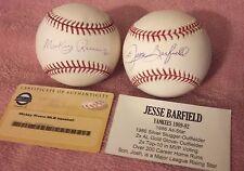 Jesse Barfield Yankees All-Star / Mickey Rivers Auto Baseballs COA ~ MLB