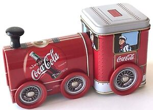 "Coca Cola Tin Locomotive 1999 Coke Advertising Wheels Turn Candy Storage 7""L"