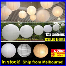 12x 12''/30cm White Paper Lanterns + 12 WARM WHITE Battery Operated LED Bulbs